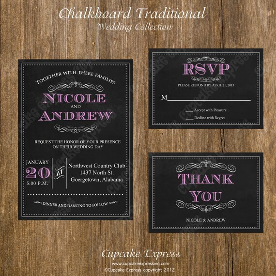 Diy Chalkboard Wedding Invitations: Items Similar To DIY Chalkboard Traditional Wedding