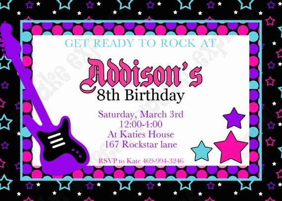 DIY Rockstar Girl Birthday party PRINTABLE Invitation 4 pink black – Rockstar Party Invites