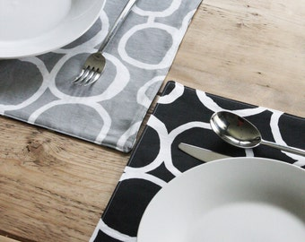 Reversible Placemats - Grey and Black with White Circles