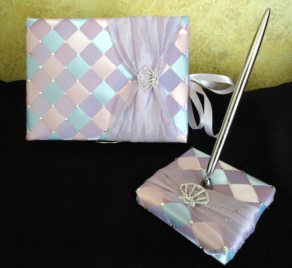 beach theme wedding guest book and pen set with swarovski crystals