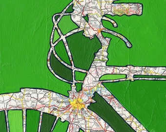 Nashville - small print -  featuring Nashville, Franklin,  Murfreesboro,  Brentwood, Tennessee bike art print, bicycle, cycle