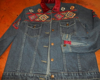Vintage Denim Southwest Jacket with Embroidery