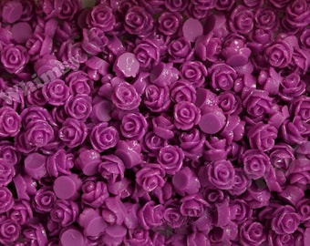 7.5mm - Plum Purple Teeny Tiny Rose Resin Cabochons, Tiny Flower Cabochons, Flower Cabs, Tiny Flatback Roses, 7.5mm  (R3-042)