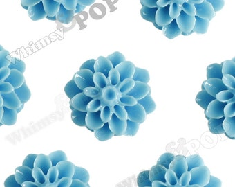 15mm - Light Blue Chrysanthemum Flower Cabochons, Dahlia Flatbacks, Mum Shaped, (R3-107)