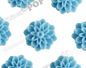 15mm - Light Blue Chrysanthemum Flower Cabochons, Flower Cabs, Dahlia Flatbacks, Mum Shaped, Flat Back Mums, Glue On Flowers (R3-107)