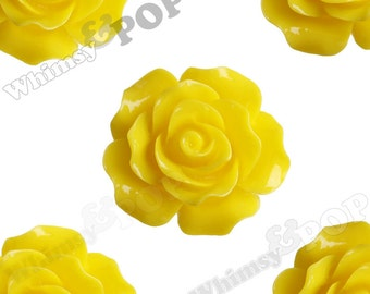 Large Detailed Lemon Yellow Roses, Rose Deco Resin Cabochons, Flower Shaped, 20mm Rose Cabochons, 20mm x 9mm (R1-018)