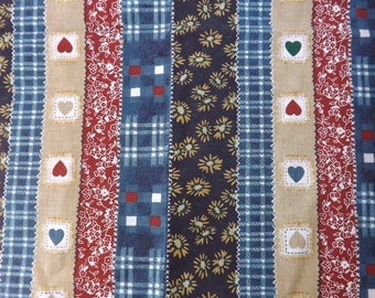 Fabric Cotton Country patchwork pattern Blue