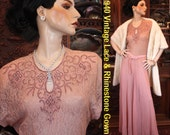 Antique 1930 Mauve Beaded Rhinestones Harlow Glamour Gown    Avant Garde   Hollywood glamour    breathtaking   incredible beauty