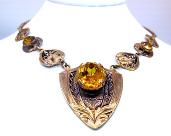 Art Nouveau Embossed Brass Citrine Art Glass Czechoslovakian Necklace