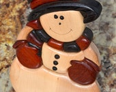 Jolly Intarsia Snowman Made of Exotic Wood
