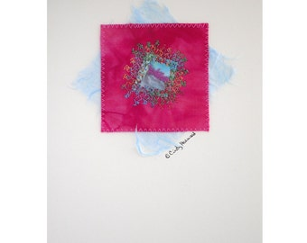 Mixed Media Greeting Card, Light Blue, Fuchsia Pink