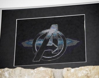 Avengers logo cross stitch, matted and framed