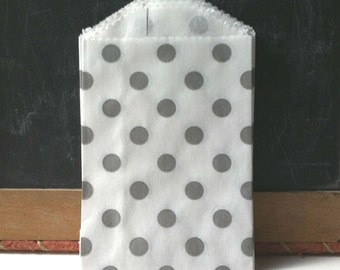 Gray Polka Dots Treat Bags or Favor  Bags, candy bar bags, advent calendar bags