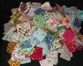 2 inch vintage fabric squares, hand cut, many colors