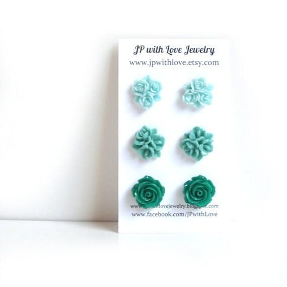 Turquoise Stud earrings, teal stud earrings, green Stud earrings, flower Stud earrings, set of 3, bridesmaid, resin flower jewelry