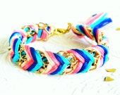 Carnival Candy - Peachy Keen, Neon Pink, Capri Blue & Rich Navy - Chevron Braided Modern Friendship Bracelet - Featured on Etsy's Front Page