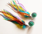 2g Feather Plugs 4g, 6g, 0g Rainbow Dangle Plugs with Long Feathers You Choose Flower Color GAUGED Feather Earrings Body Jewelry Ear Plugs