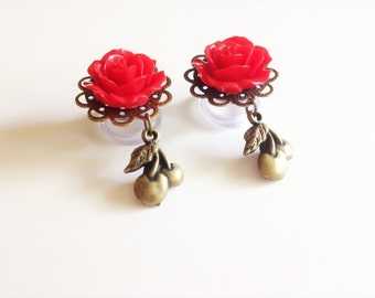 "Sold In Pairs Red Rose Plugs Dangle Gauges 1/2"", 9/16"", 7/16"" 11mm 000g Ear Gauges Cherry Plugs Body Jewelry, 23 Colors Dangle Plugs"