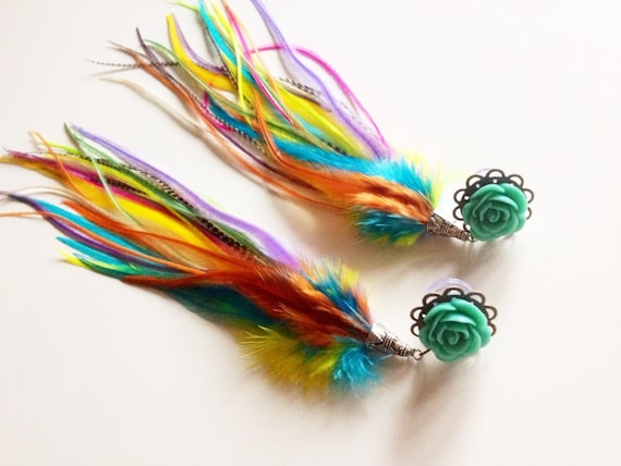 Plug And Feather : G feather plugs rainbow dangle with long