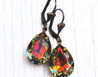 Rainbow Pear Swarovski Crystal Dangle Earrings RARE Pear Earrings Duchess Mashugana