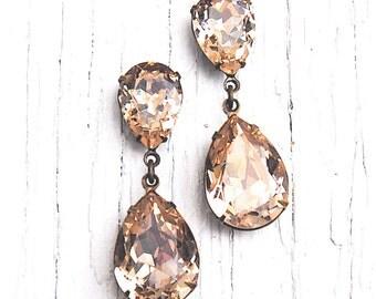 Ballet Pink Pear Earrings Swarovski Crystal Earrings Tear Drop Post Dangle Pear Rhinestone Earrings Duchess Hourglass Mashugana