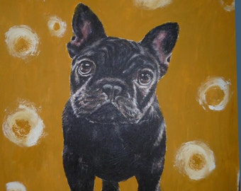 Custom Pet Portrait, French Bulldog, Acrylic on canvas