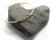 Gold Heart Bangle, Add on Hearts, Anniversary, Valentine's Gift Idea, Love, Bridal Jewelry, Wedding, Handmade Hammered Bracelet, Customize