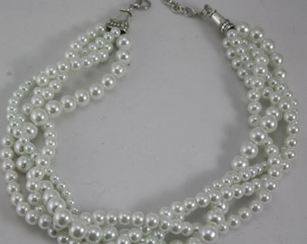 White pearl multi strand necklace in glass pearls--brides jewelry, wedding necklace