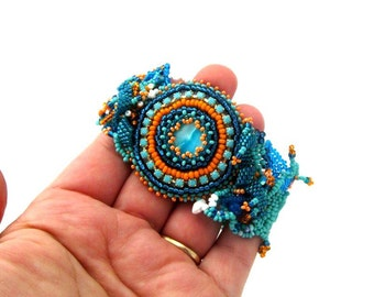 Beaded cuff bracelet, Seed bead jewelry, Freeform bracelet, Turquoise teal orange beadweaving