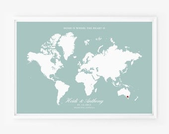 SALE 20% OFF Wedding Gift Personalized Anniversary or Wedding Custom World Map Art Poster Home is Where The Heart Is