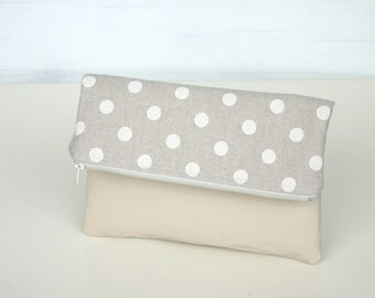 Foldover Leather and canvas Clutch Purse Polka dot White