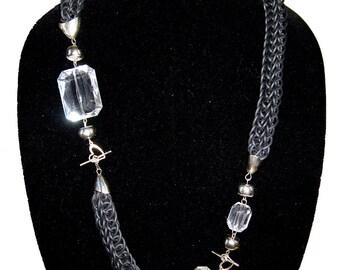 Statement black necklace, modern asymmetric chunky tube necklace-bracelet set, clear acrylic, silver tone beads, loom knit
