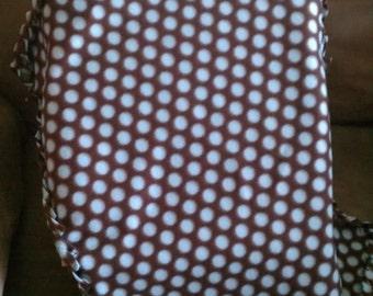Soft Fleece Baby Boy Blanket -  Brown with Blue Polka Dots