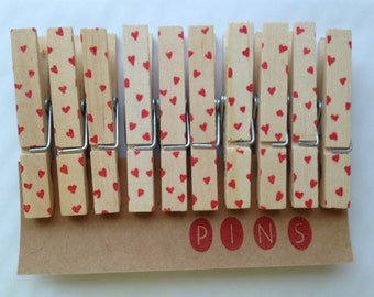 HEART Clothespins - Set of 10 Handstamped Clothes Pins - Perfect for Valentine's Day