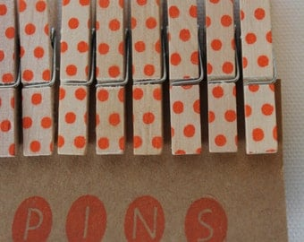 "Mini Polka Dot Clothespins ""Pumpkin"" - Set of 10 Handstamped Clothes Pins"