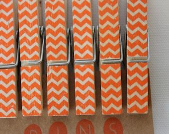 "Chevron Clothespins ""Pumpkin"" - Set of 10 Handstamped Clothes Pins"