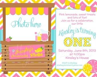 PINK LEMONADE STAND photo invitation - You Print