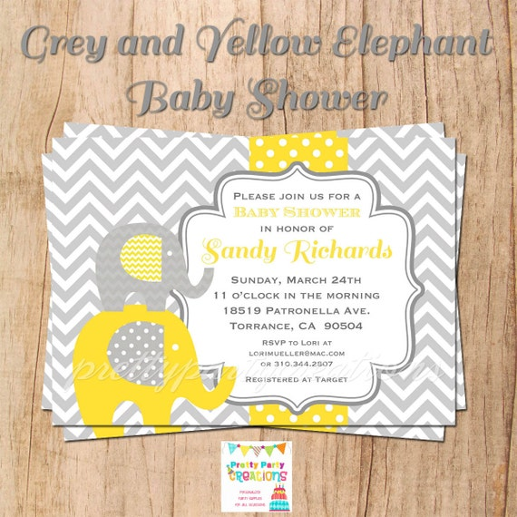 grey and yellow elephant baby shower by prettypartycreations