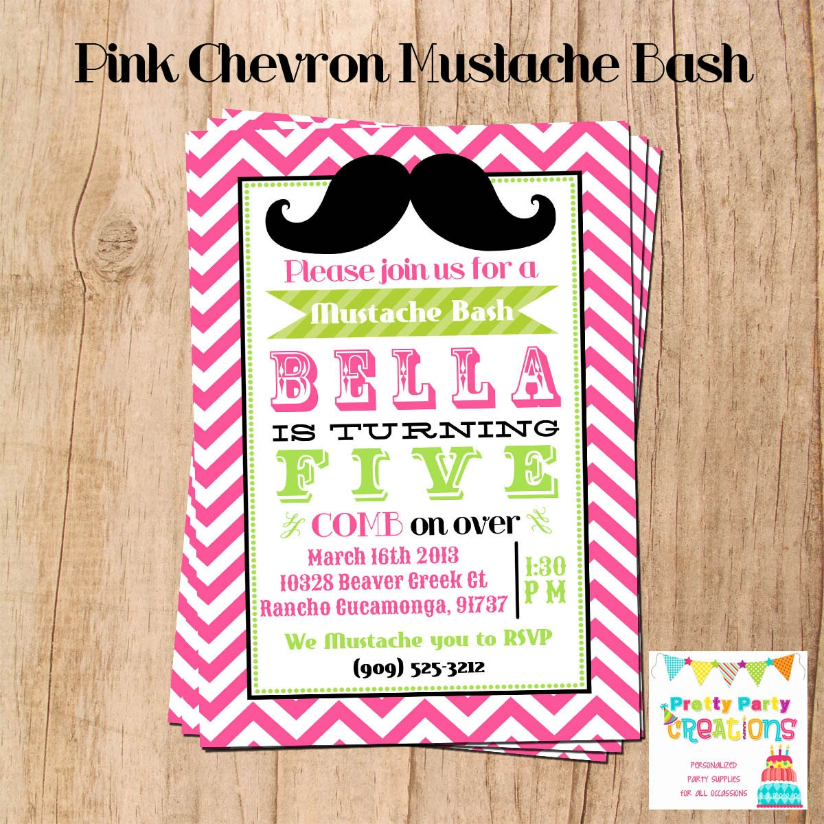 zoom - Mustache Party Invitations