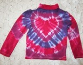 SALE!!  Tie dye 4 Toddler long sleeve shirt- Heart in purples and pinks- Valentines Day