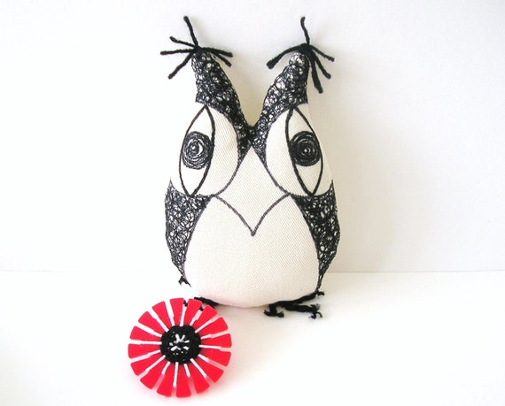 Zoe the squiggly owl / plush toy/ soft toy/ fabric toy/ nursery decoration