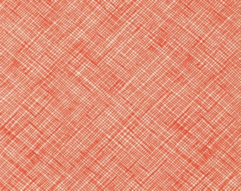 Half Yard Architextures Crosshatch in Tangerine, Carolyn Friedlander, Robert Kaufman Fabrics, 100% Cotton Fabric, AFR-13503-147 TANGERINE