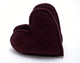 Pocket Hand Warmers MAROON HEARTS Felted Wool Rice Bags Eco Gift Masculine Gift