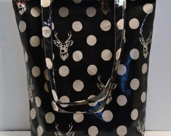 """Tote Bag in Laminated Echino """"Buck"""" and Lined in a Fun Polka Dot Design"""
