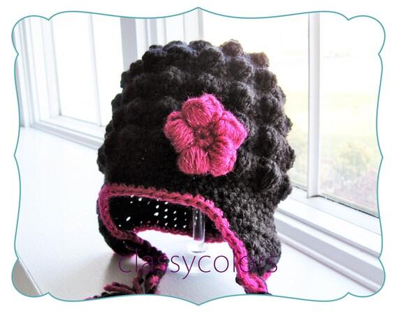 BLACK BUMPY EARFLAP : baby girl crochet earflap hat with flower