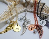Angel Wing Necklace Hand Stamped Disc Pearl Wing