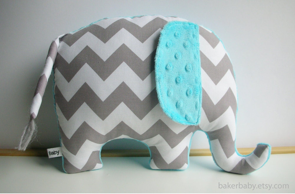 Elephant Pillow Modern Nursery Decor turquoise and gray