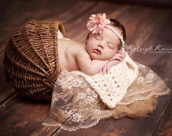 Burlap/Lace/Blanket 3 Piece Layer Set with Headband