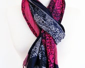 Pink / Navy Multicolor Cotton Scarf, Long Scarf, Gift