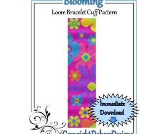 Bead Pattern Loom(Bracelet Cuff)-Blooming